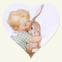 Sticker Antique Adorable Easter Bunny hugs