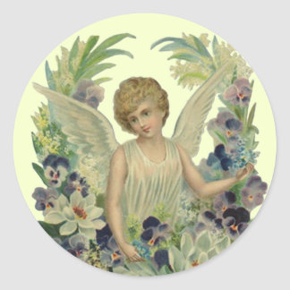 Sticker antique Angel w/ Forget-me-not Bouquet