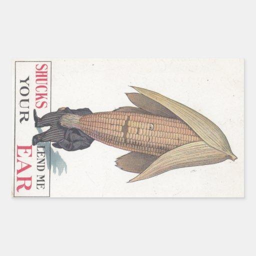 Sticker Antique Antrhopomorphic Veggie Corn Pun