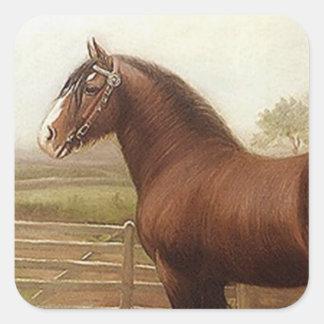 Sticker Antique Bay Clydesdale Draft Horse Parade