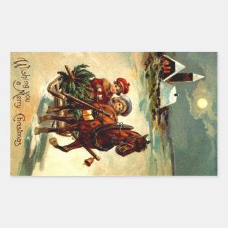 Sticker Antique Christmas Gr One Horse Open Sleigh