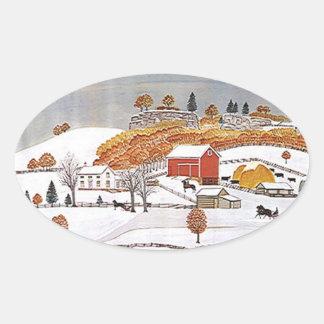 Sticker Antique Folkart Rural Farm Red Barn Winter