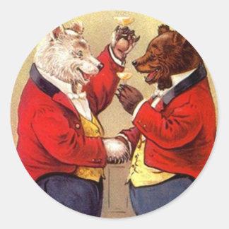 Sticker Antique Fun Anthropomorphic Bears Toasting
