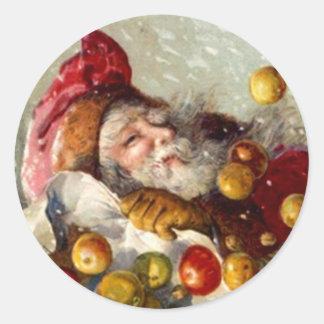 Sticker Antique Santa Christmas Apple Gifts Fruit