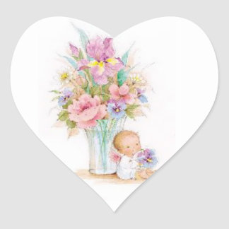 Sticker-Baby Angel Sitting by a Flower Vase Heart Sticker