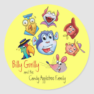 Sticker-Billy Gorilly & Family Classic Round Sticker