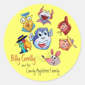 Sticker-Billy Gorilly & Family Classic Round Sticker