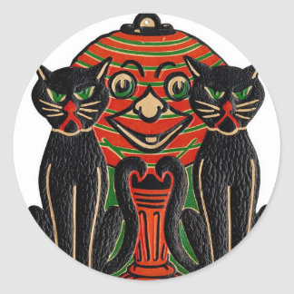 STICKER-BLACK CAT TWINS and jackolantern