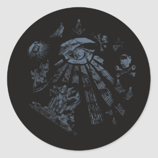 Sticker Black Masonic Fantasy Blue