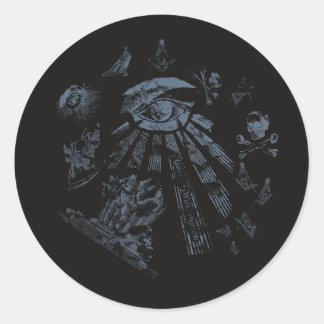 Sticker Black Masonic Fantasy Blue
