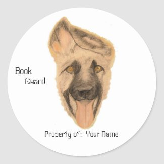 Sticker - Book Plate - German Shepherd Dog Art sticker