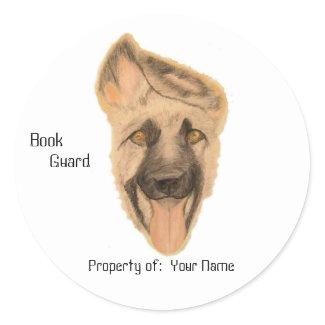 Sticker - Book Plate - German Shepherd Dog Art sticker
