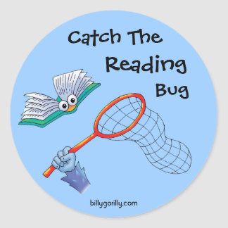Sticker-Catch The Reading Bug Classic Round Sticker
