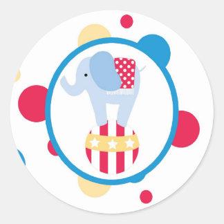 sticker circus cute fun elephant ball polk a dots