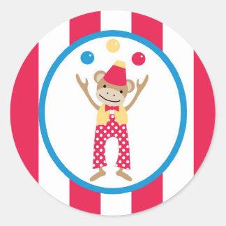 sticker circus cute fun monkey balls stripes