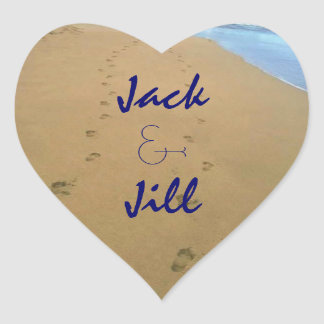 Sticker Couple Pair Footsteps Sand Beach Heart Luv