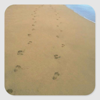 Sticker Couple Pair Footsteps Sand Beach Square
