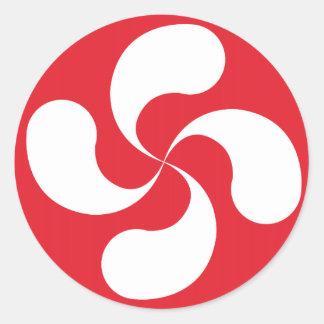 "Sticker Cross Red White Basque ""Lauburu """