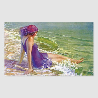 Sticker Fashionable Flapper Beach purple cloche