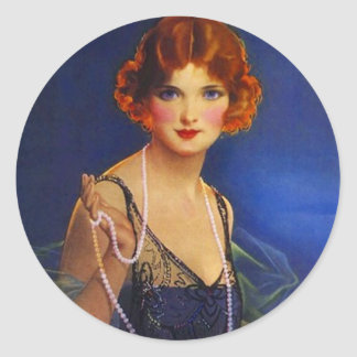 Sticker Fashionable Flapper Dress Pearls Hairdo