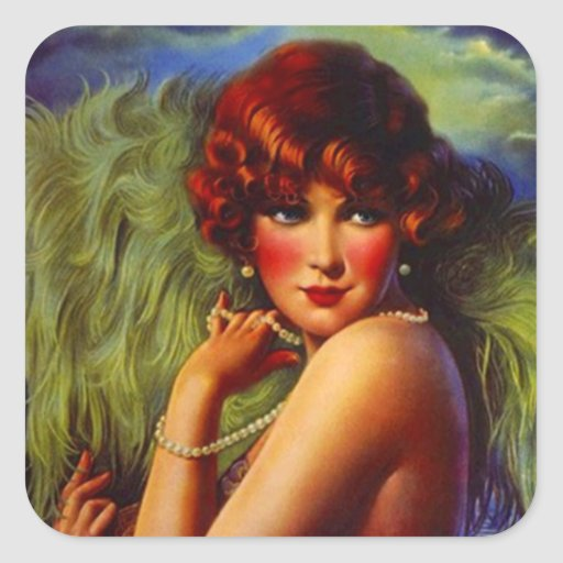Sticker Fashionable Flapper Feathers Pearls Hairdo