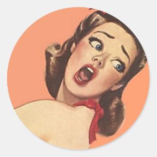 Sticker Fashionable Retro Lady Surprised Shocked