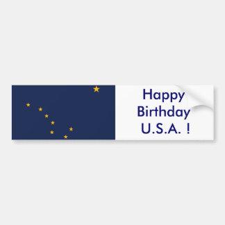 Sticker Flag of Alaska, Happy Birthday U.S.A.!