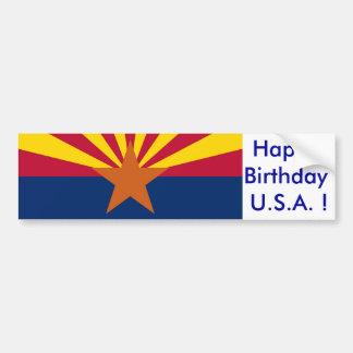 Sticker Flag of Arizona, Happy Birthday U.S.A.!