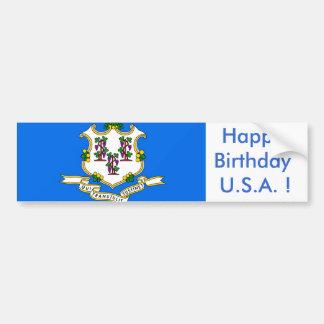 Sticker Flag of Connecticut,Happy Birthday U.S.A.! Car Bumper Sticker