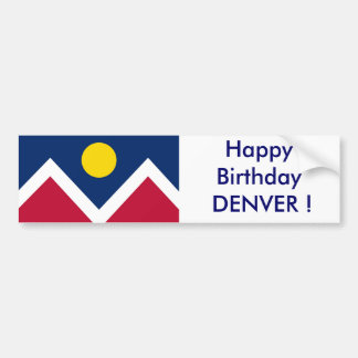 Sticker Flag of Denver, Happy Birthday DENVER!
