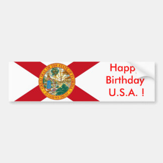 Sticker Flag of Florida, Happy Birthday U.S.A.!