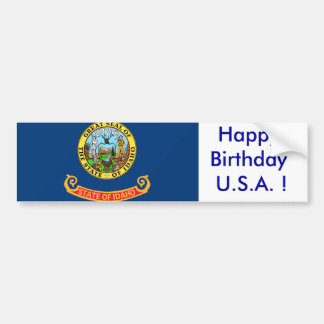 Sticker Flag of Idaho, Happy Birthday U.S.A.!