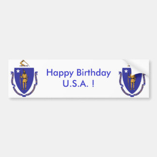 Sticker Flag of Massachuset,Happy Birthday U.S.A.!