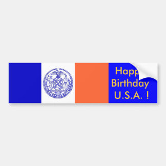Sticker Flag of New York, Happy Birthday U.S.A.!