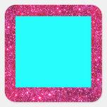 Sticker Fun Turquoise Red Sparkle Glitter Square Square Sticker