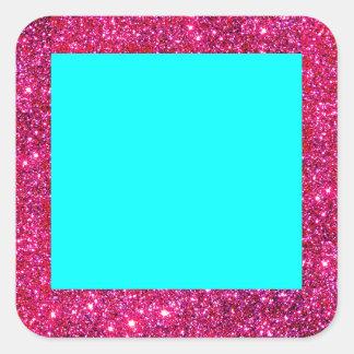 Sticker Fun Turquoise Red Sparkle Glitter Square