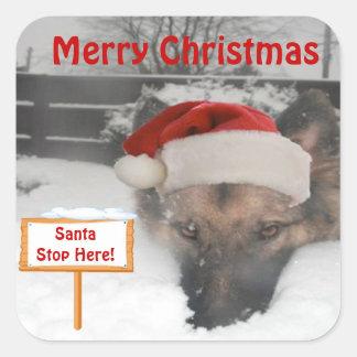 Sticker German Shepherd Santa Stop Here Sign