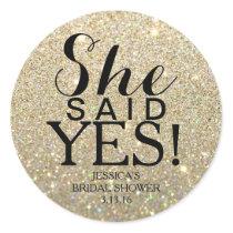 Sticker   Glitter Bridal Shower - She Said Yes!