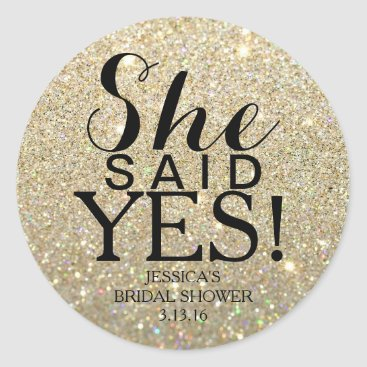Evented Sticker | Glitter Bridal Shower - She Said Yes!