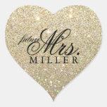 Sticker - Glitter Heart Fab future Mrs.