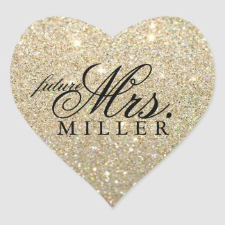 Sticker - Glitter Heart Fab future Mrs.