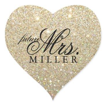 Valentines Themed Sticker - Glitter Heart Fab future Mrs.
