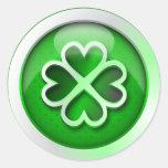 Sticker glossy green quatrefoil St. Patrick's Day