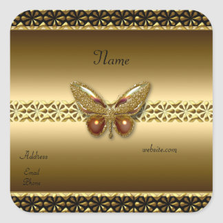 Sticker Gold On Gold Butterfly Square 2