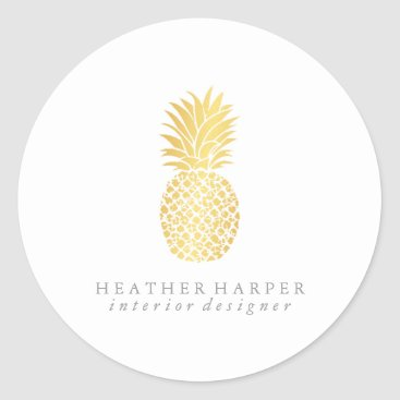 Professional Business Sticker - Gold Pineapple