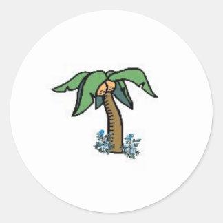 Sticker-Hawaii Coconut Tree Classic Round Sticker