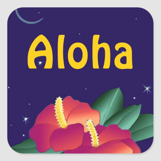 Sticker Hawaiian Night Stars Hibiscus Aloha