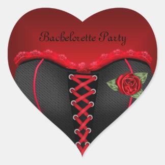 Sticker Heart Bachelorette Party Black Red Corset