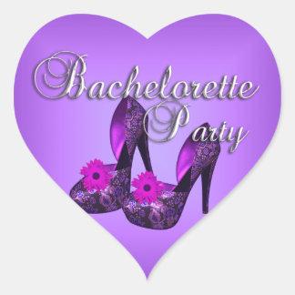 Sticker Heart Bachelorette Party Purple Black Shoe Heart Sticker