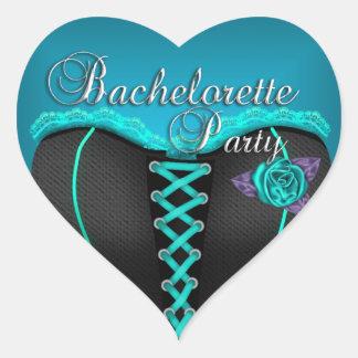 Sticker Heart Bachelorette Party Teal blue Corset